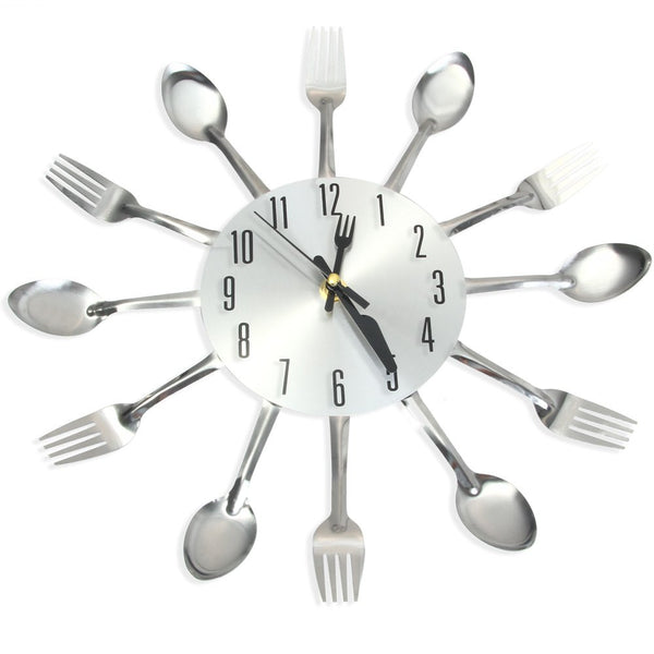 Modern Sliver Cutlery Kitchen Wall Clock Spoon Fork Creative Mirror Wall Stickers Mechanism New Design Home Decor 1382589 - Hespirides Gifts