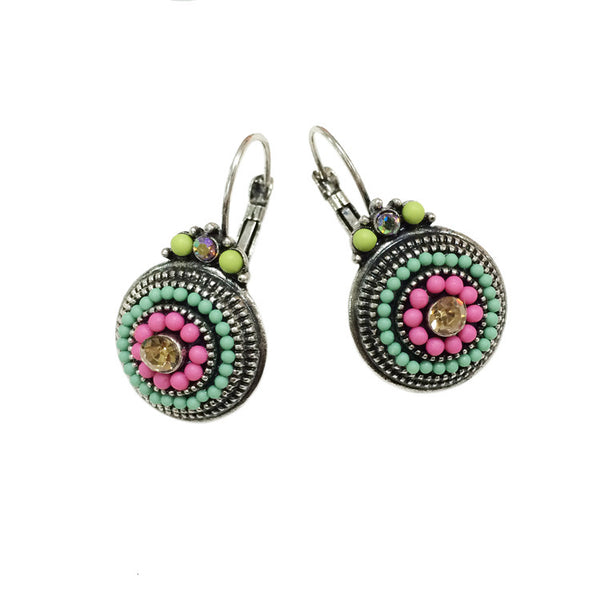 Vintage Silver 2 Color Brincos Lady Colorful Beads Charms Luckly Rhinestones Ethnic Clip On Earrings For Women Statement Jewelry - Hespirides Gifts - 3