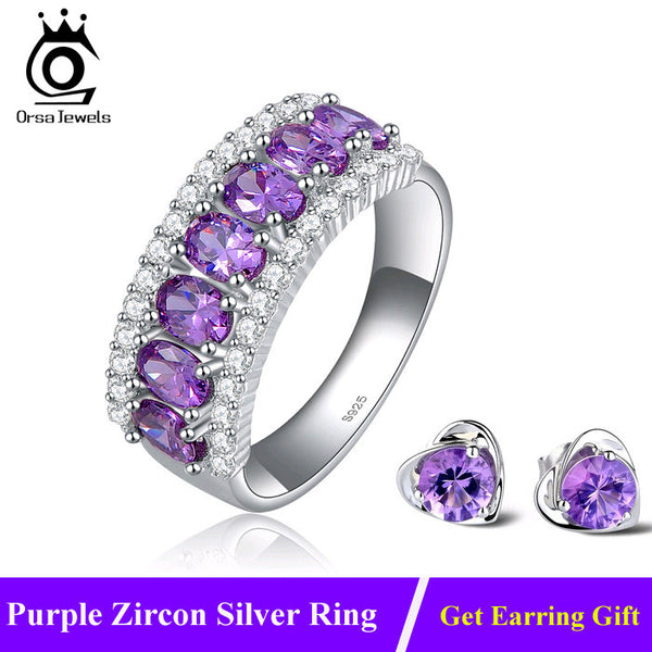 Luxury AAA Grade Purple Zircon Rings Clear CZ Micro Pave on Platinum Plated Rings for Women Fashion Jewelry Wholesale OR43 - Hespirides Gifts