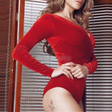 Elegant Black Red Velvet Bodycon Bodysuits Womens Sexy Plunge Neck Jumpsuits Rompers Long Sleeve Tops for Women Clothing 80236