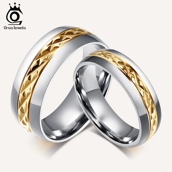 ORSA Fashion Titanium Steel Couple Rings Set Jewelry Rings for Men Women Engagement Wedding Ring OTR70 - Hespirides Gifts
