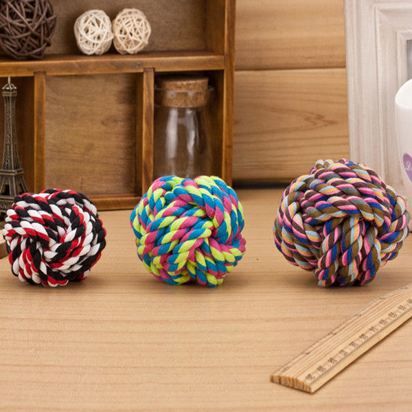 New Design Pets Rope Ball Toys Bite Ball Colorful Squeak Toys Dog Wool Ball Toys 3 Size Pet Puppy Chew Toys