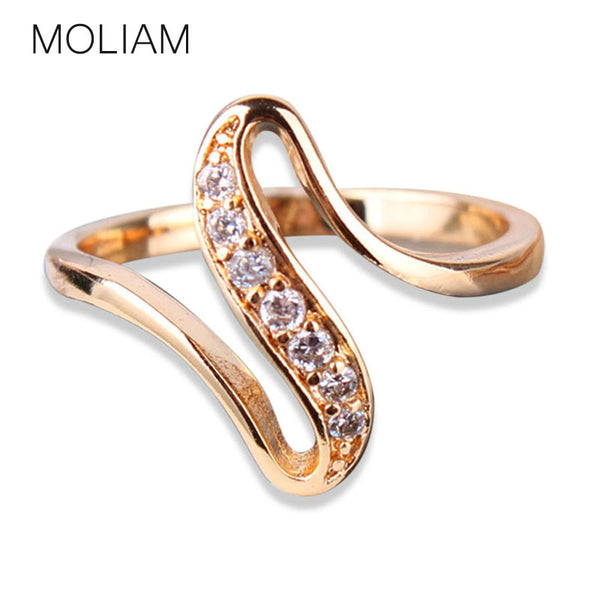 MOLIAM Unbelievable Charming Rings Gift 18k Gold Plating White Crystal Engagement Rings for Women Jewelry High-quality Ring R103 - Hespirides Gifts