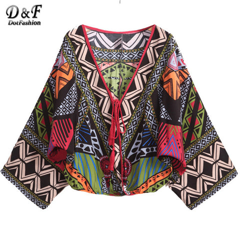 Female Shinside Autumn Women Tops Pullover Long Bat Sleeve Deep V Neck Tribal Print Crop Cool Vintage Blouse - Hespirides Gifts - 1