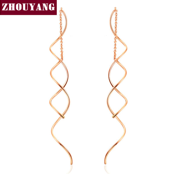 ZHOUYANG Top Quality Simple Spiral Ear Line White & Rose Gold Plated Fashion Earrings Jewelry Wholesale ZYE243 ZYE319 - Hespirides Gifts