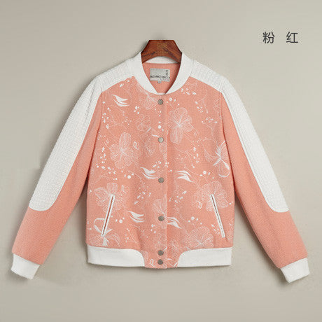 Toyouth Women's Retro harajuku Flower Embroidery Pattern Color Block Baseball Coat College Varsity Jacket casaco feminino - Hespirides Gifts - 2