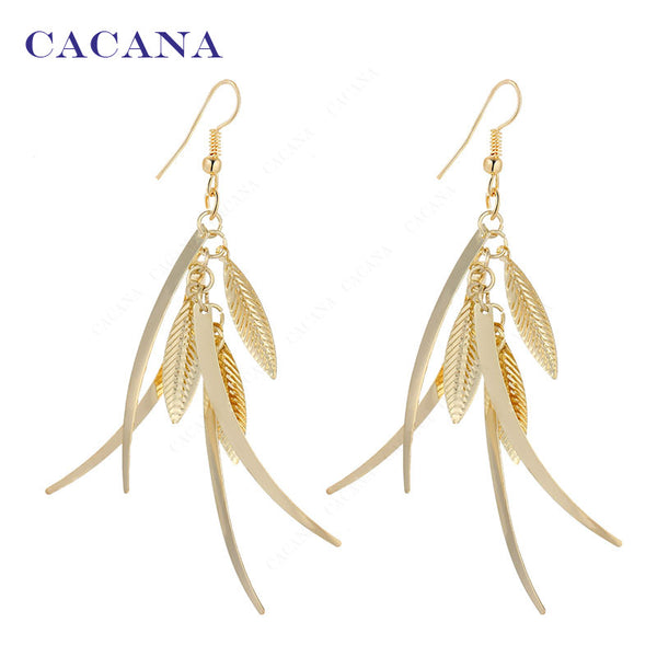 CACANA Gold Plated Dangle Long Earrings For Women Top Quality Fashion Bijouterie Hot Sale No.A201 A202 - Hespirides Gifts - 2