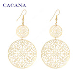 CACANA Gold Plated Dangle Long Earrings For Women Classic Pattern Hollow Round Bijouterie Hot Sale No.A339 A340 - Hespirides Gifts - 1