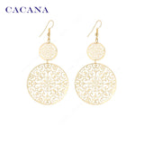CACANA Gold Plated Dangle Long Earrings For Women Classic Pattern Hollow Round Bijouterie Hot Sale No.A339 A340 - Hespirides Gifts - 2