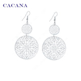 CACANA Gold Plated Dangle Long Earrings For Women Classic Pattern Hollow Round Bijouterie Hot Sale No.A339 A340 - Hespirides Gifts - 4