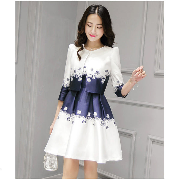 Women Fashion Brand New Printed Three Quarter Sleeve Short Jacket Sleeveless Pleated Dress Suit Europe and America Pattern - Hespirides Gifts - 2
