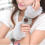 Korean Winter Short Section Mitts Cute Buttons Half-Finger Gloves Nine Colors For Choose - Hespirides Gifts - 8