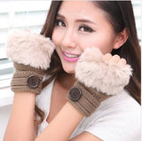 Korean Winter Short Section Mitts Cute Buttons Half-Finger Gloves Nine Colors For Choose - Hespirides Gifts - 7