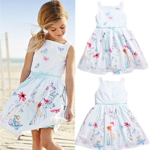hot girls dress children's clothing white strap dress Students wear fashion pleated dress silk Leisure dress - Hespirides Gifts