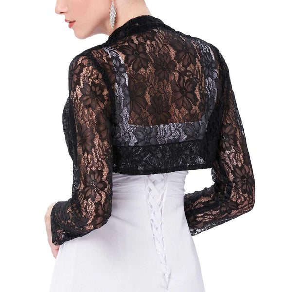 Sexy Black White Lace Bolero Elegant Ladies Shrug Long Sleeve Plus Size S-3XL Wedding Evening Prom Cropped Lace Bolero Shrugs
