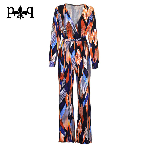 Long Sleeve Rompers Womens Jumpsuit Vintage Printed Casual Loose Pants Bow Belt Elegant Jumpsuits Plus Size Female Overalls