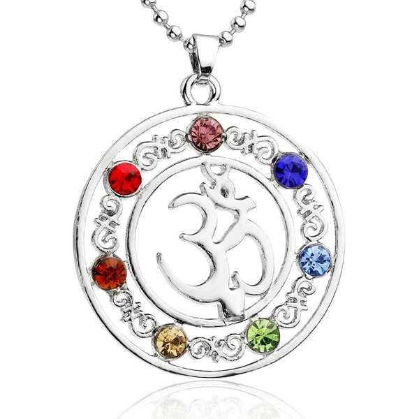 OM Symbol Energy Gem Pendant Colgante DIY Gift 7 Crystal Reiki Chakra Pendants (No Necklace) - Hespirides Gifts