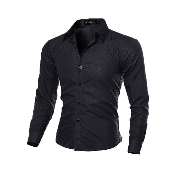 Fashion Men's Luxury Casual Shirts Slim Fit Dress Shirts Long Sleeve Button Tops-Y107