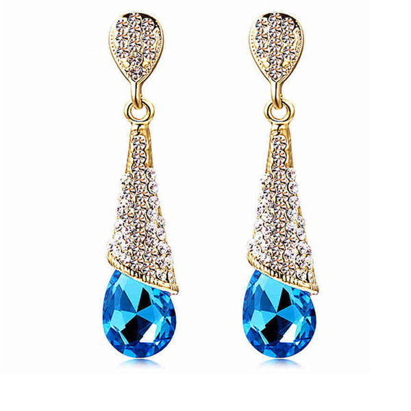 Fashion Brand Alloy Gold Plated Statement Austria Blue Crystal Long Earrings Rhinestone Water Drop Elegant Earring Jewelry - Hespirides Gifts - 6