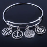 Hot sale plated silver bracelets bangles adjustable expandable wire bracelets with anchor & life trees charms jewelry for women - Hespirides Gifts - 2