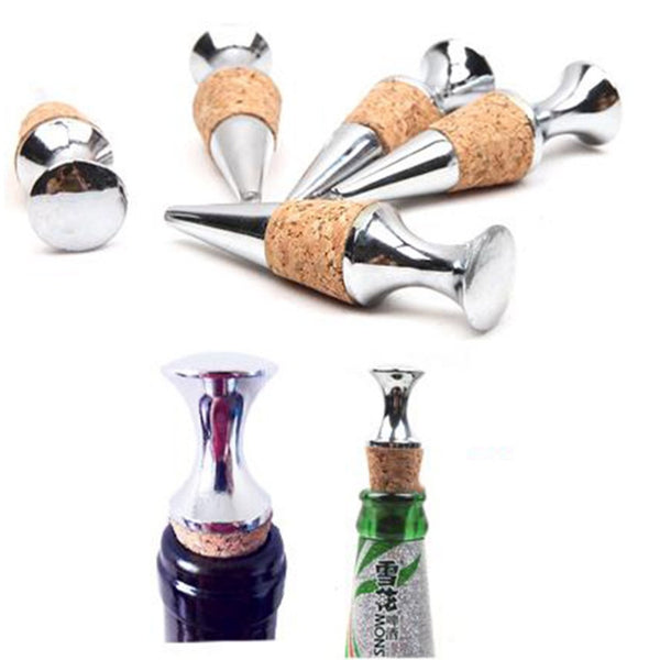 Silver Zinc Alloy Glyptostrobus Cork Wine Bottle Stopper  new arrival