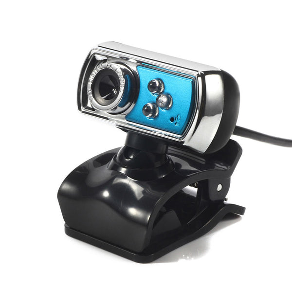 High Quality HD 12.0 MP 3 LED USB Webcam Camera with Mic & Night Vision for PC Blue - Hespirides Gifts