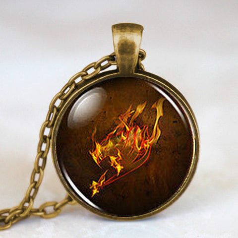 Steampunk Anime Fairy Tail Guild Marks Fire Wing Pendant mens Necklace doctor dr who 1pcs/lot chain men jewelry women new chain - Hespirides Gifts
