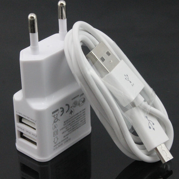 original 2A white Dual 5V USB EU Plug Wall Charger +micro USB cable for Samsung galaxy S3 I9300 note 3 note4 mobile phone - Hespirides Gifts