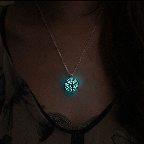 Steampunk Pretty Magic Round Fairy Locket Glow In The Dark Pendant Necklace Gift Glowing Luminous Vintage Necklaces P1176 - Hespirides Gifts - 1