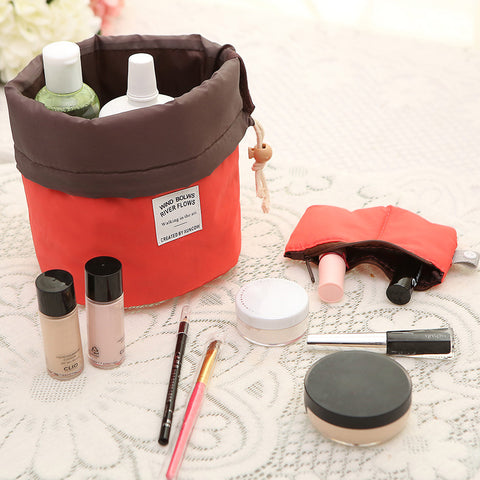New Arrival Barrel Shaped Travel Cosmetic Bag Nylon High Capacity Drawstring Elegant Drum Wash Bags Makeup Organizer Storage Bag - Hespirides Gifts - 1