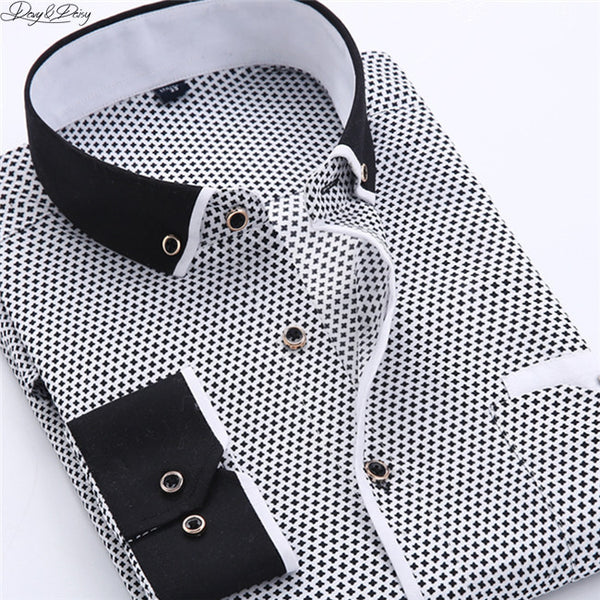 High Quality Men Shirt Long Sleeved Fashion Assorted Printing Casual Shirt Men Turn-Down Collar Dress Camisas 11 Options DS-026