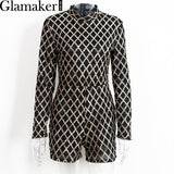 Glamaker Long sleeve bodycon sexy sequin playsuit women 2016 Autumn slim mesh elegant jumpsuit romper Winter zipper overalls