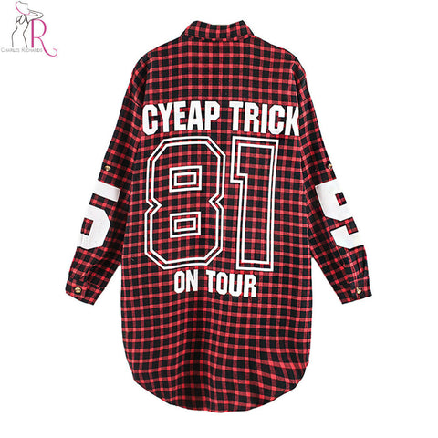 Red Women Boyfriend BF Style Monogrammed Plaid Long Sleeves Long Oversized Loose Shirt W/ Back Letter and Numbers Print - Hespirides Gifts - 1