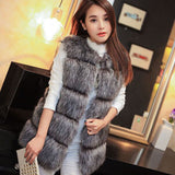 New 2017 Winter Coat Women Fur Vest With a Pocket High-Grade Faux Fur Coat Leisure Women Fox Fur Long Vest Plus Size:S-XXXXL