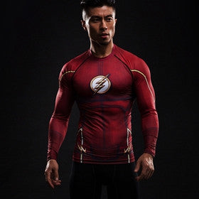 Compression Shirt Flash 3D Printed T-shirts Men Raglan Long Sleeve Superman Flash Cosplay Costume Fitness Clothing Tops Male