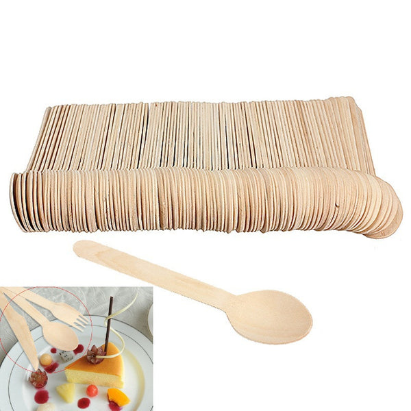V1NF 100pcs Economical Wooden Spoon Western Disposable Spoons Tableware - Hespirides Gifts