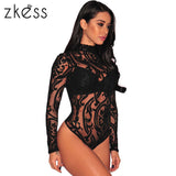 ZKESS Black Stretchy Turtleneck Long Sleeve Bodysuit 2017 New Arrival Fall Bodysuit for Women Winter Bodysuit Clothes LC32110