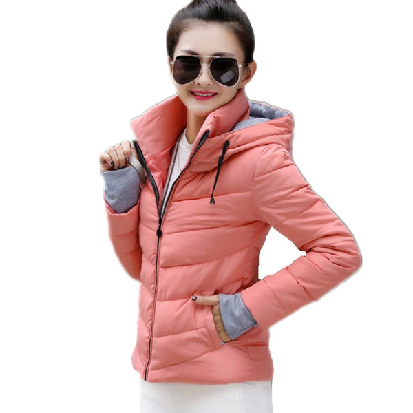 Winter Jacket women 2017 Fashion Slim Short Cotton-padded Hooded Jacket Parka Female Wadded Jacket Outerwear Winter Coat Women