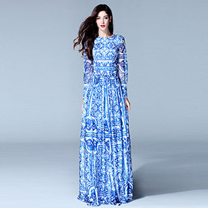 HIGH QUALITY New Fashion Women's Long Sleeve Vintage Blue And White Print Dress Brand Maxi Dress - Hespirides Gifts - 2