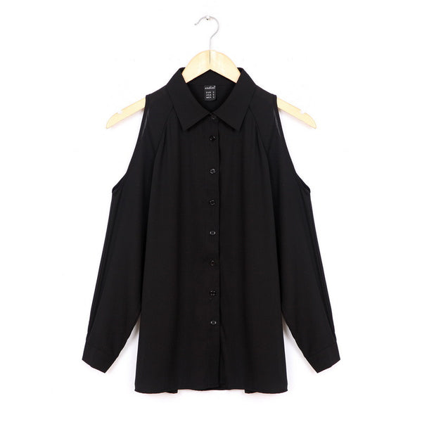 Women off shoulder long shirts sexy chiffon tops turn down collar blouse Blusas Femininas long sleeve casual plus size LT426