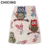 CHICING Mini Skirts Women 2016 Autumn Boho Vintage Folk Ladies Basic Skirt Owl Cat Printed Fashion Saias Femininas A1608039