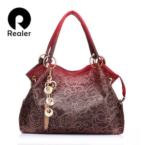 REALER Floral Print Leather Women's Shoulder Bag With Free Coin Purse