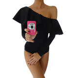Elegant Ruffle white Long Sleeve sexy bodysuit Women jumpsuit romper one-piece bodycon Black women overalls Skinny bodysuits