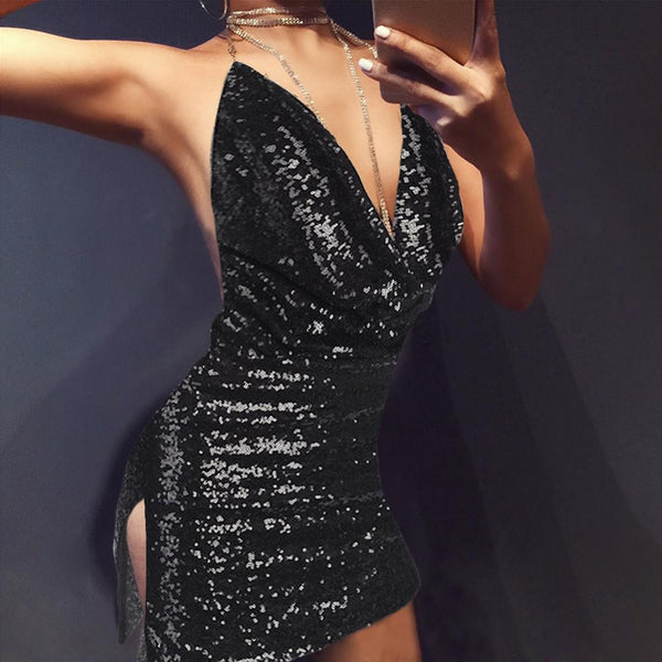 bf495a6fc0 Buy RUIYIGE Backless deep v sequin sexy Boho Women black party luxury  sundress short dress night Club strap mini dress vestidos C856 at  Hespirides Gifts for ...