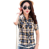 Brand New 2017 Summer Style Plaid Print Short Sleeve Shirts Women Plus Size Blouses Casual 100% Cotton Tops Blusas 14 Colors