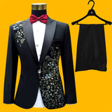 Plus Size Men Suits ( Jacket + Pants ) S-4XL Fashion Black Paillette Embroidered Male Singer Slim Performance Party Prom Costume - Hespirides Gifts - 1