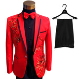 Plus Size Men Suits ( Jacket + Pants ) S-4XL Fashion Black Paillette Embroidered Male Singer Slim Performance Party Prom Costume - Hespirides Gifts - 6