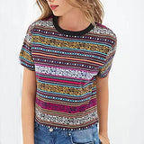 Women vintage totem stried Cropped T shirt Retro Tribal short sleeve crop shirt casual Blusas Femininas European tops DT72