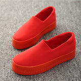 new muffin heavy-bottomed shallow mouth of canvas shoes women shoes casual shoes a pedal student flat bottom shoes w343 - Hespirides Gifts - 1
