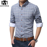 Plus Size Shirts New 2016 Spring Casual Men Shirt Cotton Linen Mens Dress Shirt Slim Fit Plaid Shirt Long sleeve Camisas MC127